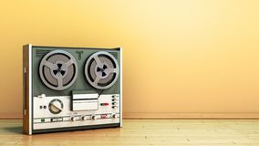 Old portable reel to reel tube tape recorder on the flor in room 3d render image. Old portable reel to reel tube tape recorder on the flor in room 3d render royalty free illustration