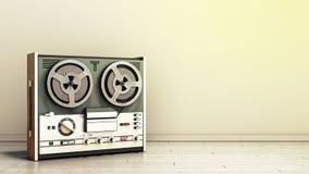 Old portable reel to reel tube tape recorder on the flor in room 3d render image. Old portable reel to reel tube tape recorder on the flor in room 3d render vector illustration