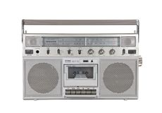 Old Portable Stereo Cassette Player with Clipping Path Royalty Free Stock Images