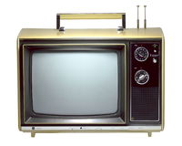 Old Portable Television. A portable 13 inch TV from the 1970's - isolated over pure white Stock Photos