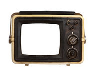 Old portable tv receiver with blank screen Stock Images