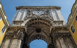 Old portal Augusta of Lisbon in Portugal. View of the ancient portal Porta Augusta of Lisbon in Portugal Royalty Free Stock Photos