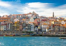 Old Porto city, colorful buildings in Ribeira, Douro river, Port royalty free stock photos