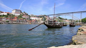 Old Porto and traditional boats with wine barrels, Portugal stock footage