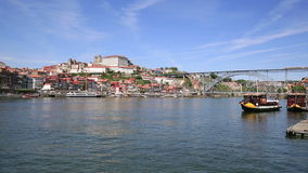 Old Porto and traditional boats with wine barrels, Portugal stock video footage