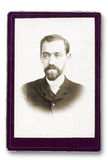 Old Portrait of a man. Made ​​in a studio. Vintage. Year 1890 stock photo