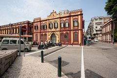 Old Portuguese buildings on the Tap Seac Square in Macau Royalty Free Stock Photo