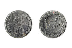 Old portuguese coin of fifty shields Stock Photography