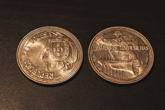 Old Portuguese coins & x22;Escudos& x22; royalty free stock images