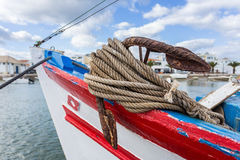 Old portuguese fishing boat on beach . Portugal Royalty Free Stock Photo