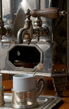 Old Portuguese hot coffee machine Royalty Free Stock Photography