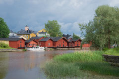 Old Porvoo before the storm. View of embankment from the river of Porvoyoki. Finland Royalty Free Stock Photography