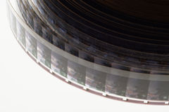 Old positive 16 mm film strip on white background Stock Photo