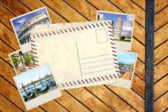 Old post card and photos Royalty Free Stock Photography