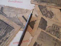 Old post cards. Vintage italian post cards whith a pen Royalty Free Stock Images