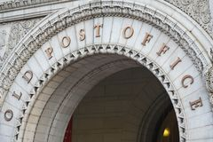 Old Post Office Arch Entrance. Washington DC. June 2006 stock photo