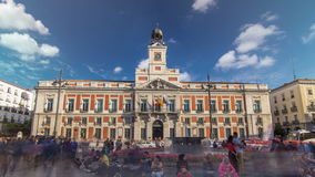 The Old Post Office building timelapse hyperlapse. Located in the Puerta del Sol. Madrid, Spain
