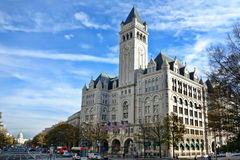The Old Post Office Pavilion in Washington DC. The Old Post Office Pavilion Nancy Hanks Center landmark vintage historic building and the United States Capitol Royalty Free Stock Photography