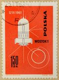 Old post stamp of Poland, dedicated to space exploration and first satellites. KHARKIV, UKRAINE - MARCH 5, 2018: Old post stamp of Poland, dedicated to space stock photos
