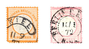Old post stamps stock photos