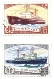 Old post stamps with ships royalty free stock photography