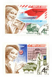 Old post stamps from USSR Stock Photography