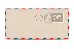 Old postage envelope with stamps. On white background stock illustration