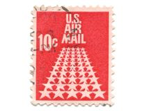 Old postage stamp from USA 10 cent. Stars Stock Photography