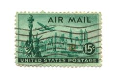 Old postage stamp from USA 15 cents. Libery NY Royalty Free Stock Image