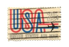 Old postage stamp from USA 21 cent stock image