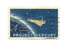 Old postage stamp from USA 4 cent 1962. Project Mercury Stock Image