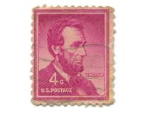 Old postage stamp from USA 4 cent. Lincoln Stock Photo