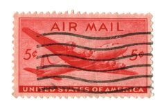 Old postage stamp from USA 5 cents Royalty Free Stock Photos