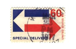 Old postage stamp from USA. Special delivery Stock Image