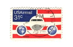 Old postage stamp from USA. Airmail Stock Image