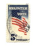 Old postage stamp from USA five cent. Registred vote Royalty Free Stock Photo