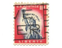 Old postage stamp from USA Liberty Stock Photos