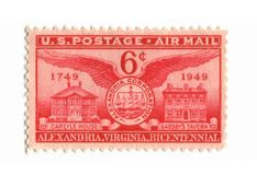 Old postage stamp from USA six cent. Airmail Royalty Free Stock Photography