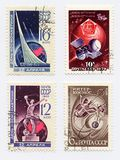 Old Postage Stamps. Old Soviet Union cancelled Postage Stamps from collection devoted to conquest of Space Royalty Free Stock Photo