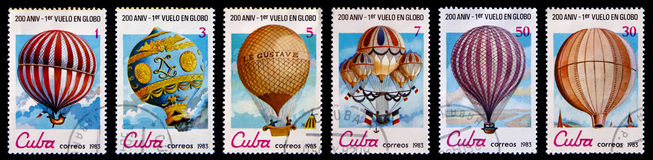 Old postage stamps with air ballons Royalty Free Stock Photography