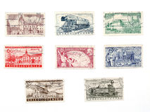 Old postage stamps from Czechoslovakia stock photo
