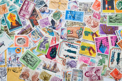 Old postage stamps. From different countries Royalty Free Stock Images