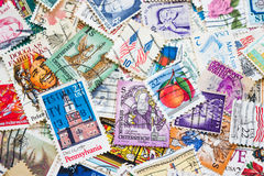 Old postage stamps of the different countries. Royalty Free Stock Photos