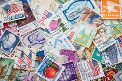 Old postage stamps of the different countries. Royalty Free Stock Photo