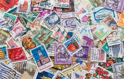 Old postage stamps of the different countries. Stock Photography