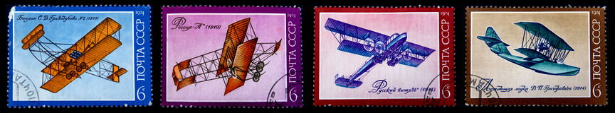 Old postage stamps with old planes Royalty Free Stock Photography