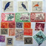 Old Postage Stamps, Poland and Portugal Royalty Free Stock Image
