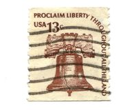 Old postage stamps from USA 13 cents. Old postage stamps liberty bell Royalty Free Stock Photo