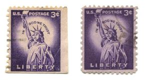 Old postage stamps from USA Liberty Stock Photography