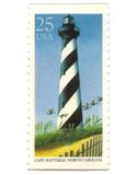 Old postage stamps from USA with Lighthouse Royalty Free Stock Photo